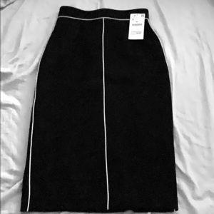 Navy midi pencil skirt